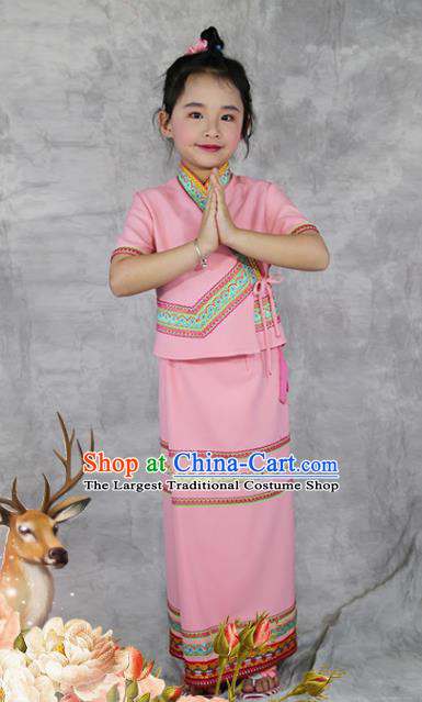 China Dai Nationality Costumes Yunnan Province Ethnic Minority Children Pink Outfits