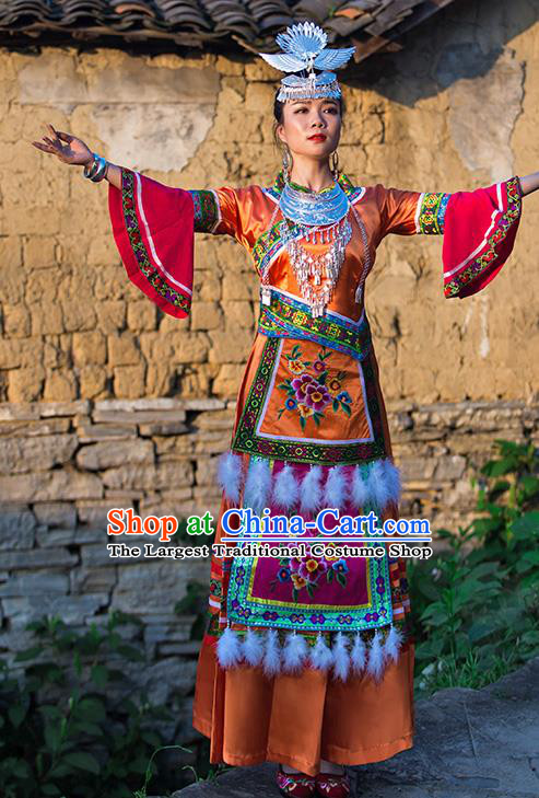 Chinese Dong Nationality Folk Dance Dress Clothing Ethnic Stage Performance Orange Outfits and Hair Accessories