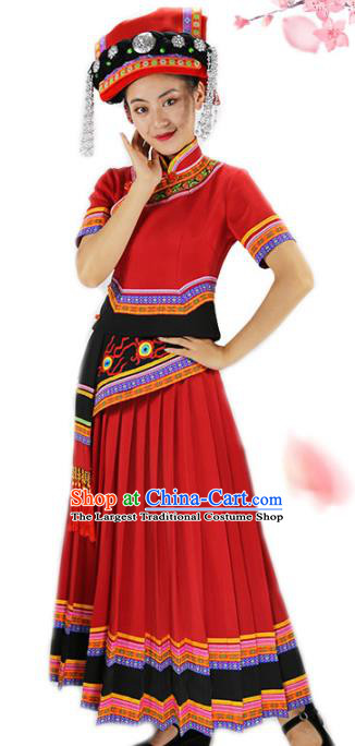 Chinese Yi Minority Red Outfits Clothing Ethnic Folk Dance Costume Nationality Woman Wedding Dress