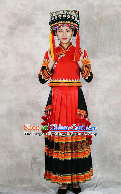 Chinese Minority Folk Dance Red Outfits Clothing Ethnic Bride Costume Yi Nationality Wedding Dress and Headwear