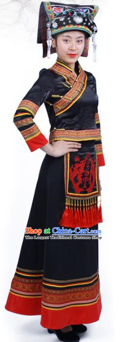 Chinese Ethnic Nationality Woman Dress Costume Yi Minority Folk Dance Black Outfits Clothing and Hat