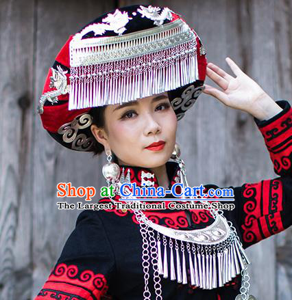 China Traditional Yi Nationality Bride Silver Tassel Hat Liangshan Ethnic Minority Bride Headwear