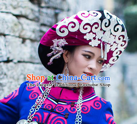 China Liangshan Ethnic Minority Bride Rosy Headwear Traditional Yi Nationality Bride Silver Tassel Hat
