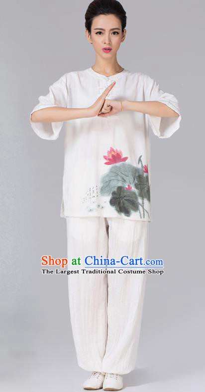 China Tai Chi Ink Painting Lotus Uniforms Traditional Martial Arts White Flax Clothing