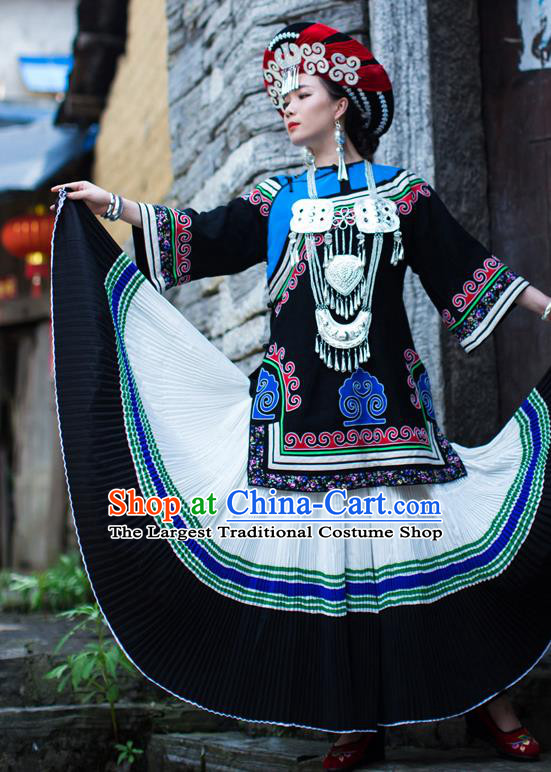 Chinese Ethnic Folk Dance Outfits Costumes Yi Nationality Wedding Bride Dress Clothing and Headdress