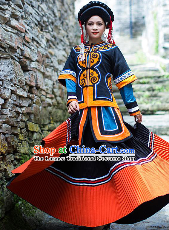 Chinese Yi Nationality Dress Stage Show Clothing Ethnic Woman Folk Dance Outfits Costumes and Hat