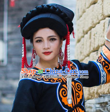 China Liangshan Ethnic Minority Black Tile Headwear Traditional Yi Nationality Tassel Hat for Women