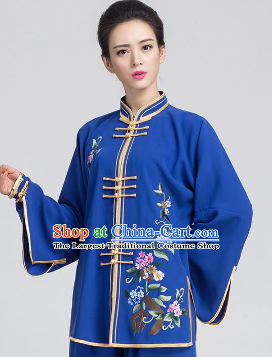 China Traditional Kung Fu Embroidered Royalblue Outfits Tai Chi Training Costumes