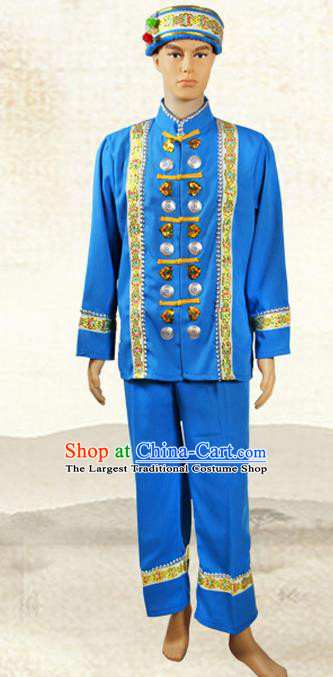 China Jingpo Nationality Folk Dance Costumes Yunnan Province Chingpo Ethnic Minority Man Blue Outfits and Hat