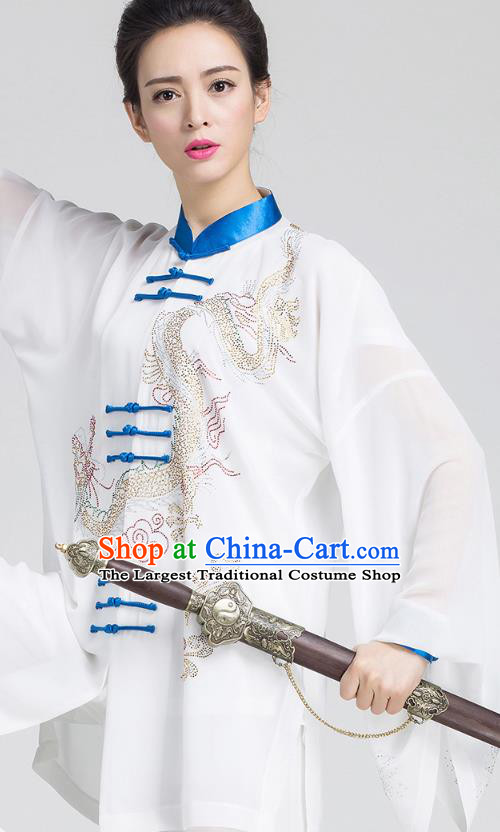 China Tai Chi Kung Fu White Three Pieces Uniforms Martial Arts Competition Clothing