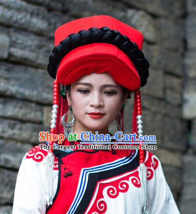China Traditional Yi Nationality Tassel Red Hat Liangshan Ethnic Minority Tile Headwear for Women