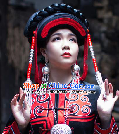 China Traditional Yi Nationality Folk Dance Beads Tassel Hat Liangshan Ethnic Minority Stage Show Headwear for Women