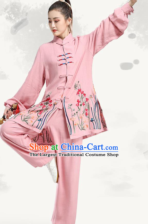 China Martial Arts Competition Pink Uniforms Tai Chi Performance Clothing Kung Fu Embroidered Costumes
