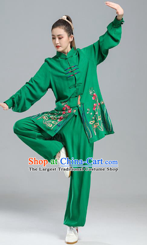 China Tai Chi Performance Clothing Kung Fu Embroidered Costumes Martial Arts Competition Green Uniforms
