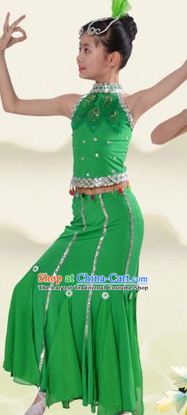 China Children Day Dance Green Dress Dai Nationality Minority Costume Stage Performance Clothing