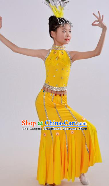 Top China Dai Nationality Minority Costume Stage Performance Clothing Children Day Peacock Dance Yellow Dress