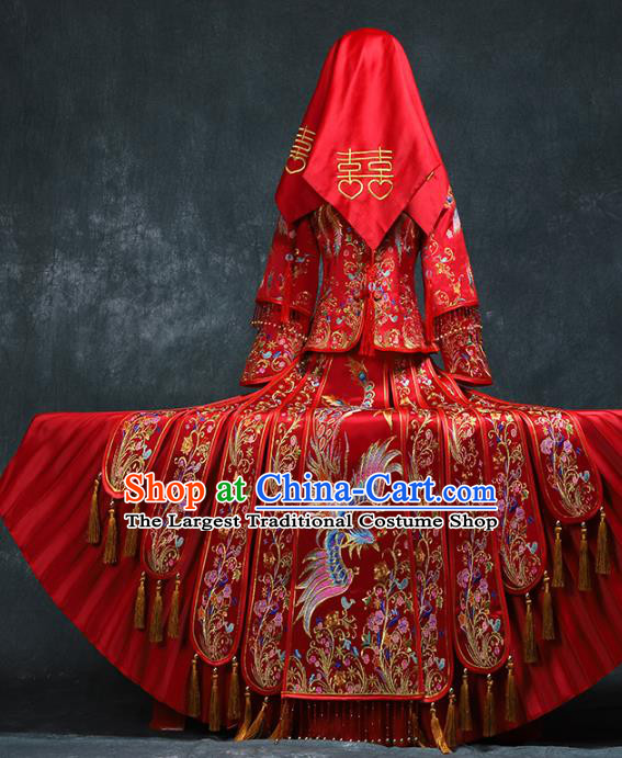 Chinese Traditional Embroidery Phoenix Peony Xiuhe Suit Wedding Toast Red Outfits Clothing Ancient Bride Costumes