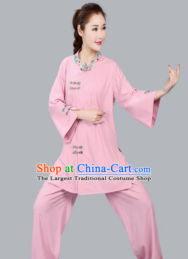 China Martial Arts Competition Pink Flax Uniforms Traditional Women Tai Chi Training Clothing