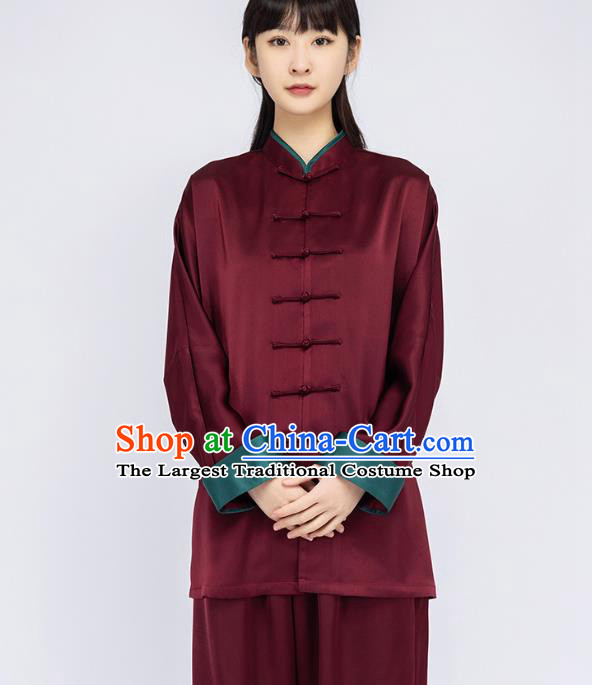 China Woman Martial Arts Dark Red Silk Uniforms Traditional Tai Chi Training Clothing