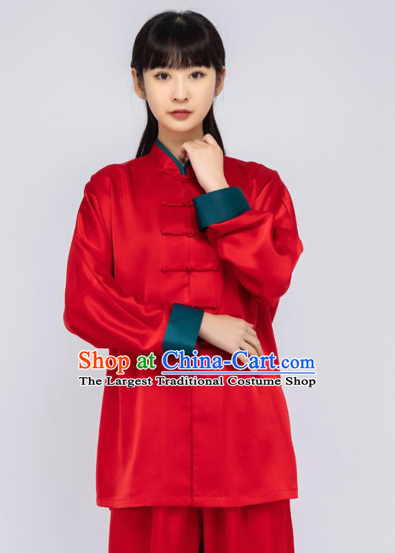China Traditional Tai Chi Training Clothing Woman Martial Arts Red Silk Uniforms