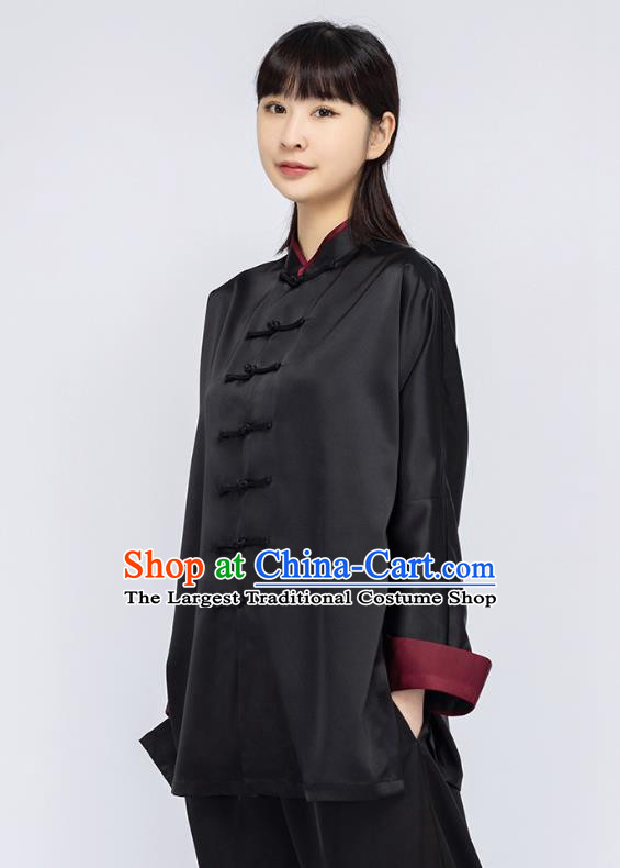 China Woman Kung Fu Black Silk Uniforms Traditional Martial Arts Competition Clothing