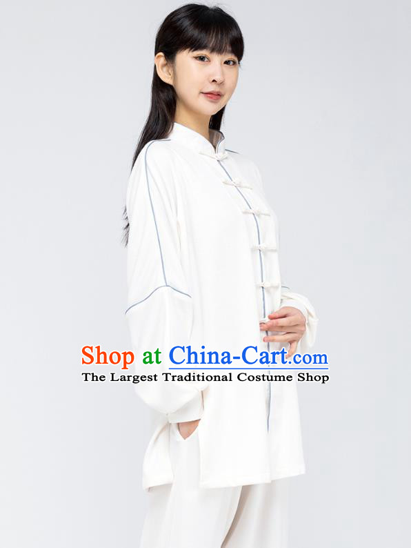 China Martial Arts Shirt and Pants Woman Tai Chi White Flax Uniforms Traditional Kung Fu Costumes