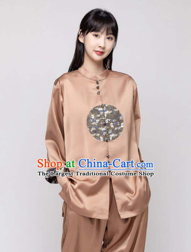 China Kung Fu Clothing Woman Tai Ji Performance Brown Silk Uniforms Traditional Martial Arts Costumes