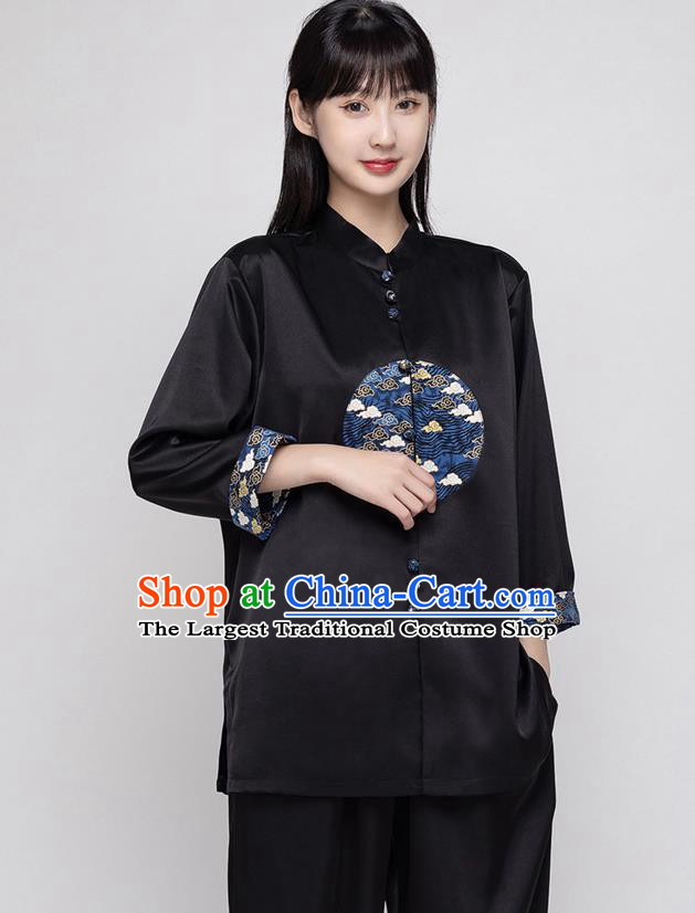 China Traditional Martial Arts Costumes Kung Fu Clothing Woman Tai Ji Performance Black Silk Uniforms