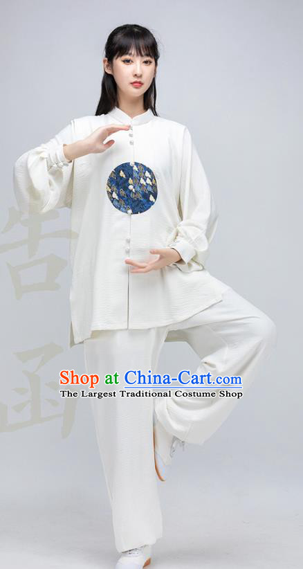 China Woman Tai Ji Performance White Silk Uniforms Traditional Martial Arts Costumes Kung Fu Clothing