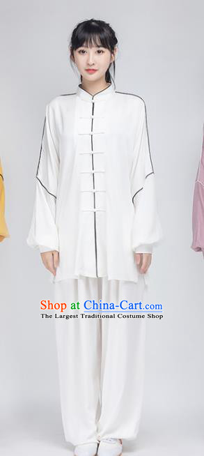 China Traditional Wushu Performance Costumes Woman Tai Chi Kung Fu Training White Uniforms
