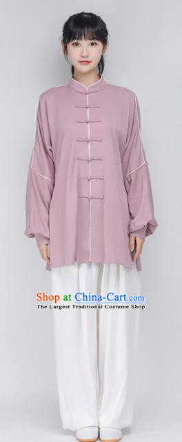 China Traditional Kung Fu Performance Costumes Woman Tai Chi Training Uniforms Lilac Shirt and White Pants