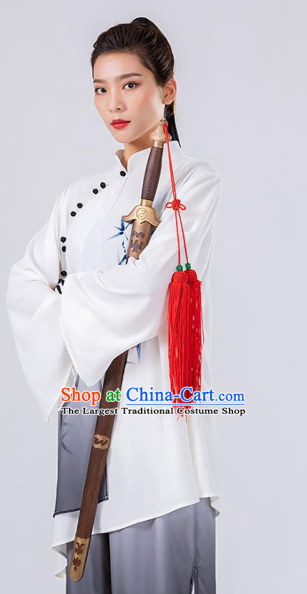 China Traditional Tai Chi Performance Costumes Woman Wushu Hand Painting Bamboo Uniforms