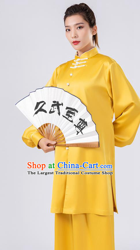 China Traditional Martial Arts Performance Costumes Woman Kong Fu Wushu Training Yellow Silk Uniforms
