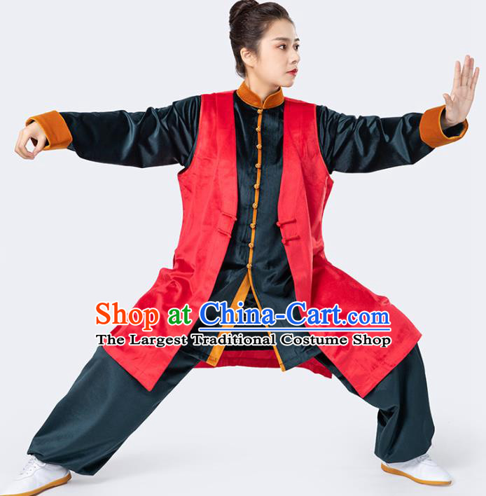 China Traditional Martial Arts Red Vest Shirt and Pants Winter Woman Kong Fu Training Uniforms