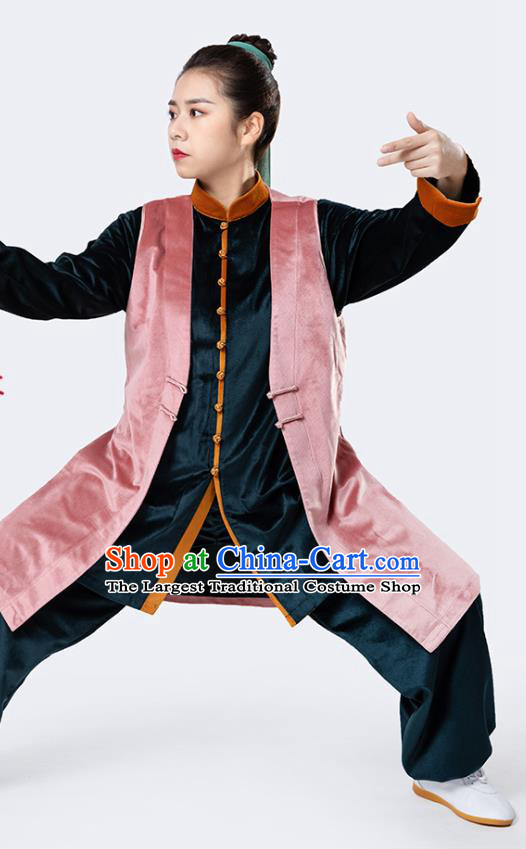 China Winter Woman Tai Chi Performance Uniforms Traditional Martial Arts Pink Vest Shirt and Pants