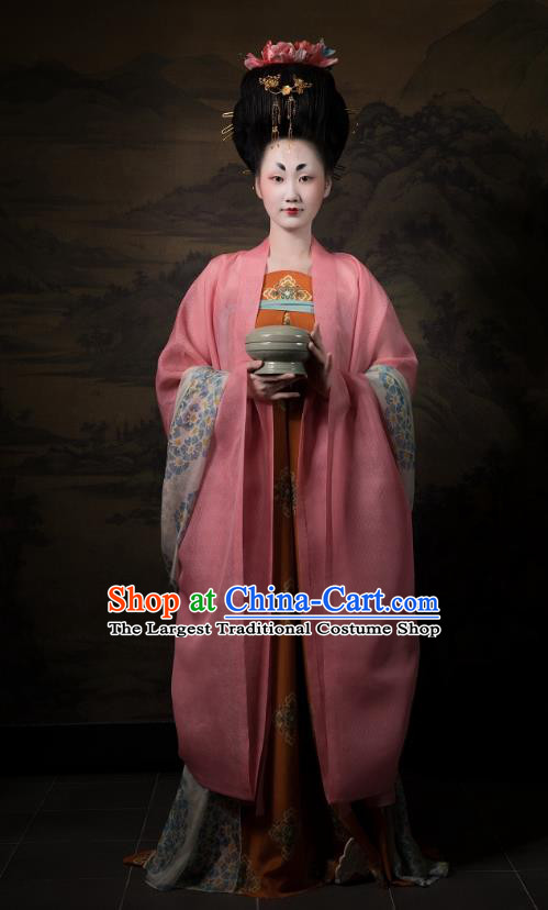 China Traditional Tang Dynasty Imperial Consort Historical Clothing Ancient Court Woman Hanfu Dress Costumes Full Set