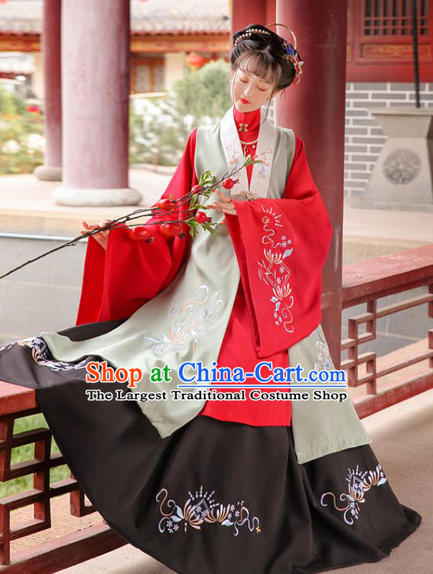 Traditional Chinese Ming Dynasty Hanfu Clothing Ancient Rich Female Embroidered Costumes Full Set