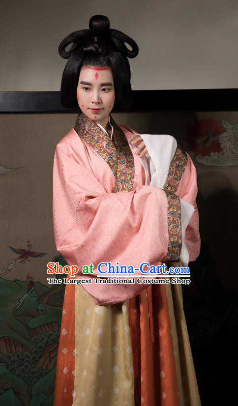 China Traditional Jin Dynasty Court Beauty Historical Costumes Ancient Imperial Consort Hanfu Dress Clothing