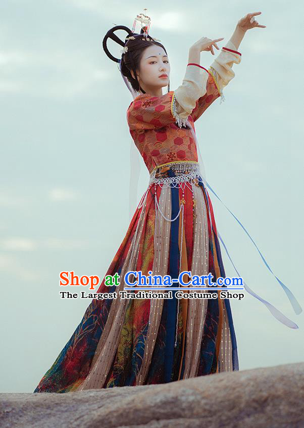 Traditional Chinese Tang Dynasty Palace Princess Historical Costume Ancient Court Lady Hanfu Dress