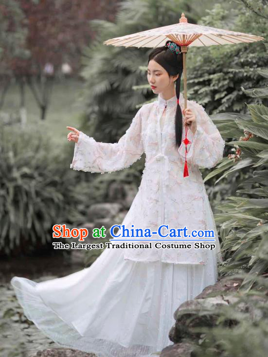 Chinese Traditional Ming Dynasty Civilian Female Historical Costumes Ancient Commoner Lady Hanfu Dress Clothing