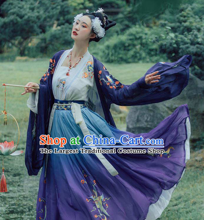 China Ancient Imperial Concubine Purple Hanfu Dress Apparels Traditional Tang Dynasty Court Woman Embroidered Costumes