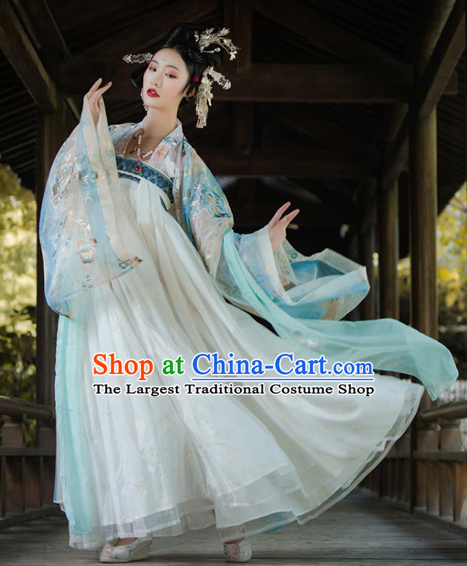 Traditional China Tang Dynasty Imperial Concubine Embroidered Costumes Ancient Court Beauty Hanfu Dress Clothing