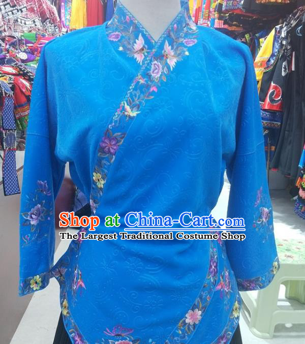 Chinese Traditional Hmong Ethnic Embroidery Blue Blouse Miao Nationality Folk Dance Shirt Clothing