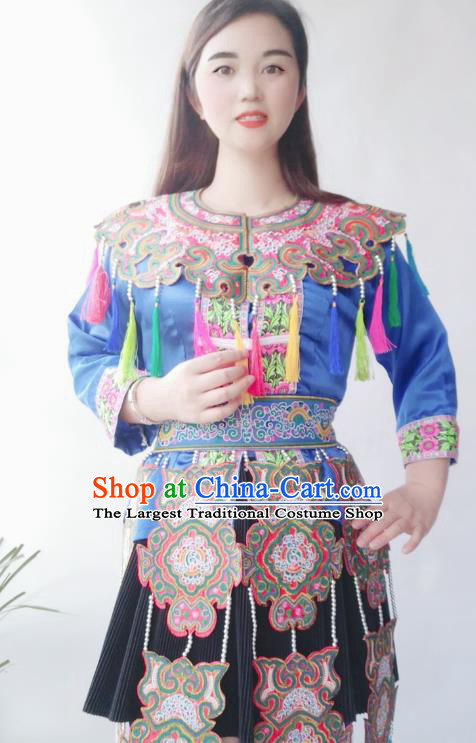 Chinese Traditional Miao National Minority Stage Performance Clothing Guizhou Miao Ethnic Folk Dance Costumes