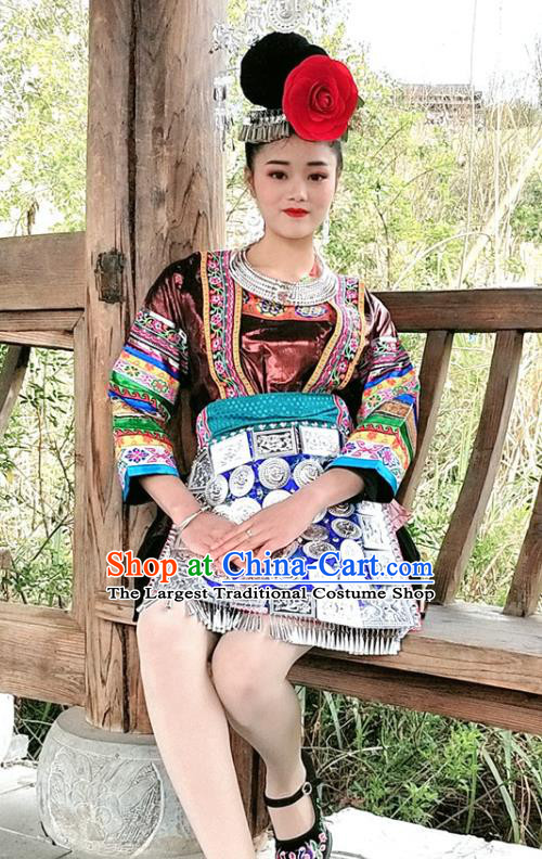 Chinese Dong Ethnic Woman Stage Performance Costumes Traditional National Minority Folk Dance Clothing