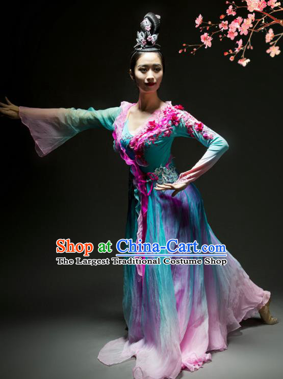 China Woman Solo Dance Umbrella Dance Dress Classical Dance Stage Performance Clothing
