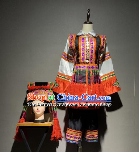 Chinese Yi Nationality Minority Folk Dance Costumes Ethnic Woman Stage Performance Outfits and Headwear