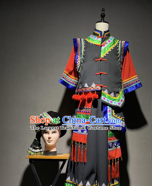 Chinese Yi Nationality Dance Costumes Ethnic Minority Stage Performance Clothing and Hat for Men