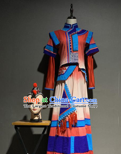 Chinese Yi Nationality Minority Wedding Costumes Ethnic Woman Folk Dance Clothing and Hair Accessories