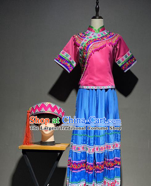 Chinese Yi Nationality Minority Young Lady Costumes Yunnan Ethnic Dance Outfits and Rosy Hat